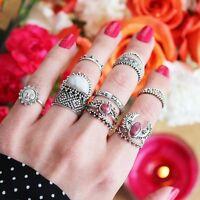 14PCS / set Anillos de dedo geometría Mujer punk  Boho Anillo Rings