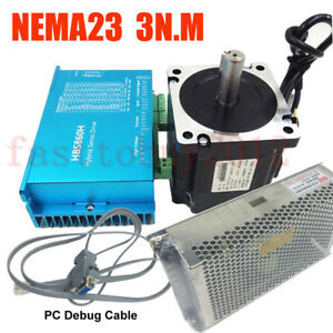 428oz-in Closed Loop Stepper Motor Nema23 3NM DSP Drive Power Supply RS232 Cable