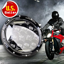 """1x 7"""" H4 High Power Dual Beam Motorcycle LED Headlight DRL For Harley Davidson"""
