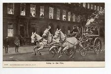 "POMPIERS carte américaine illustration "" going to the fire "" attelage 3 chevaux"