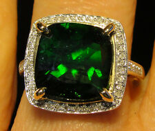 Large 5.77 cts NATURAL Russian Chrome Diopside with .33 CT DIAMONDS Ring 14k