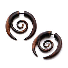 PAIR Faux Wood Fake Ear Cheater Tapers Plugs Gauges Spirals Earrings 18g 16g