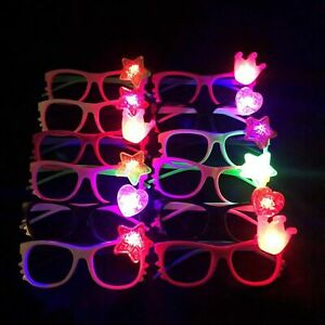 12 Pieces of LED Flashing Hello Kitty Bow Light Up Party Glasses Shades Mixed