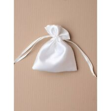NEW 12 White satin fabric organza drawstring favour bags wedding party 10x8cm