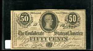1864 B 50C Confederate States Fractional Note 28227 Richmond