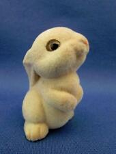 Flocked Ceramic Bunny Rabbit Figurine