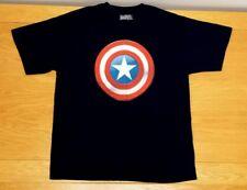 CAPTAIN AMERICA Marvel 100% Cotton Shield Logo Dark Blue T-Shirt Size Men's XL