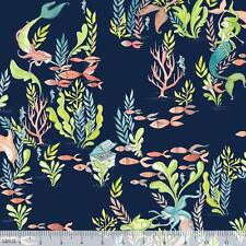By 1/2 Yard Blend Fabric Cori Dantini Mermaid Days At the Bottom of the Sea Navy