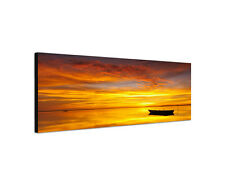 120x40cm Brennender Himmel Reflexion Sonnenuntergang Boot Meer Sinus Art Bild
