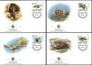MALDIVES - 1995 WWF 'HAWKSBILL TURTLE' Set of 4 First Day Covers [B2439]
