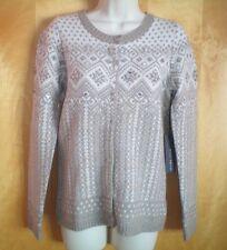 NWT NEW size S khaki ivory WILLI SMITH lambswool embellished cardigan sweater