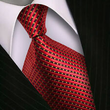 V158 Mens Classic Striped  Red JACQUARD WOVEN Tie Silk Ties Necktie Stylish Gift