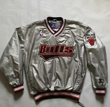 Vintage Rare Chicago Bulls Starter Pullover Silver Jacket