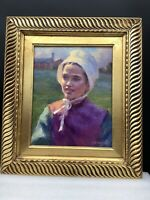 Oil Painting By Listed Artist Gregory Frank Harris -Young Amish Girl