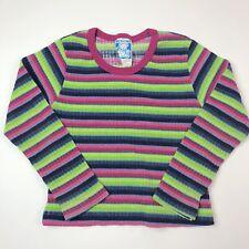 Vintage Geranimals Girls Crew Neck Long Sleeve Shirt Top Pink Blue Striped 2 3
