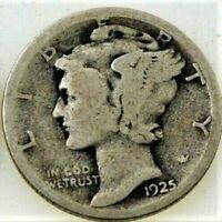 1925 S Mercury Dime circulated 90% Silver  Good + , Average circulated