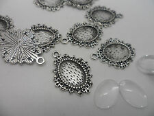 20 Earring~Pendant Making Kit,10 x Antique Silver Pendants & 14x10mm Cabochons .