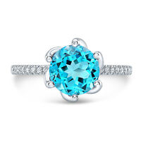 2.59 TCW 14k White Gold Natural Round Swiss Blue Topaz Diamond Pave Ring