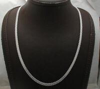 4.3mm Flat Bizmark Bismarck Chain Necklace Real Solid Sterling Silver 925