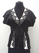 c7aae00ad53cb Short-sleeve Oasis black and cream satin lace-trimmed v-neck blouse size