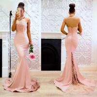 Womens Long Evening Prom Dresses Formal Mermaid Halter High Slit Party Dress