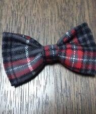 Men's Clip-on Bow tie Bowtie Lumberjack-like Flannel Red Gray Plaid handmade