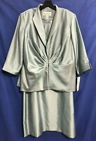 NWT JESSICA HOWARD 2-Pc MOTB COCKTAIL SHEATH Jacket/Dress Set/Suit AQUA 18W