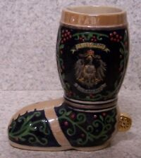Beer Boot Stein Stoneware German Crest 0.4 Liter NEW Made in Germany boxed #1