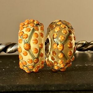 Trollbeads OOAK Unique Orange Yellow Mimosa Murano Glass Charm Bead LEFT
