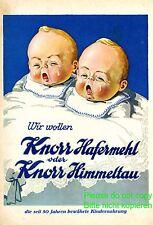 Knorr Kindernahrung XL Reklame 1928 Baby Zwillinge weinen Babies Latz Bettchen