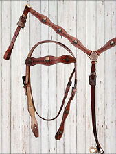 WESTERN HEADSTALL BREAST COLLAR TACK HORSE BRIDLE SET BROWN LEATHER RODEO