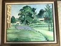 """Nice Vintage """"Backyard Landscape Scene"""" Oil On Board Painting - Signed/Framed"""