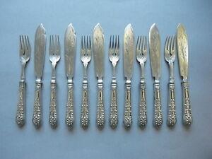 Wilkens Fischbesteck Kings Pattern / Königsmuster, massive Klingen 800 Silber