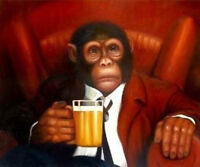 LMOP669 animal chimpanzees drinking beer hand paint art oil painting on canvas