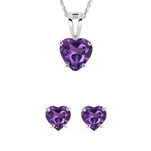 Heart Cut Amethyst Solitaire Earring & Pendant Valentine Set 14k White Gold Over