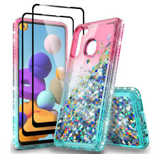 For Samsung Galaxy A11 A21 Case Glitter Bling TPU Cover+ Full Screen Protector