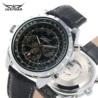 JARAGAR Mens Automatic Mechanical Wristwatch Army Leather Multifunction Watches