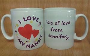 """I LOVE MY"" MUM/DAD/NANNY PERSONALISED CUTE MUG - IDEAL GIFT"