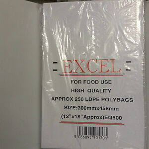 "250 Clear Poly Bags 12x18"" (300x458mm) 500 gauge Food Storage & Food Freezing"