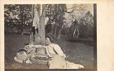 1910s Rppc Real Photo Postcard Woman With Apple Basket & Maple City Box