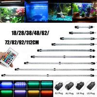 20-130CM Submersible LED Aquarium Fish Tank Light Bar Lamp Blue White RGB 5050