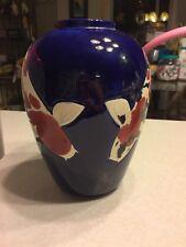 Koi Vase Jar Hand Painted Sanke Showa Kohaku pond fish ART