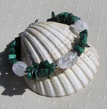 "Malachite & Crackled Clear Quartz Crystal Gemstone Bracelet ""Mallow Dew"""