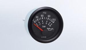 "VDO gauge Oil press 150 psi genuine Cockpit 350-911, 2""/52mm, bracket, w/harness"
