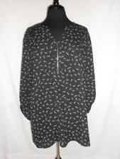 Womens Maurices Blouse Plus Size 2 Black Zipper Accent 3/4 Sleeves NWOT