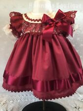 D'Hannah Boutique 2-3 years baby girl Bourgogne Frilly Lined Christmas Dress