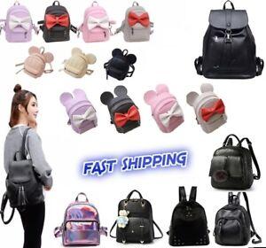 Women Girls Leather Nylon Convertible Small Mini Backpack Shoulder Chest bag