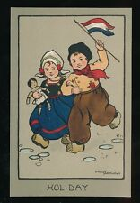 Children artist ETHEL PARKINSON Dutch Children Flag Holiday c1920/30s? PPC