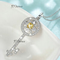 18k white gold gf made with swarovski crystal key daisy flower pendant necklace