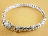 "New 925 Sterling Silver Foxtail Franco Wheat Bracelet Bali Tulang Naga 7.75"" 37g"